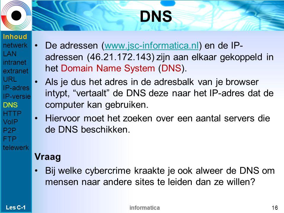 informatica DNS De adressen (www.jsc-informatica.nl) en de IP- adressen (46.21.172.143) zijn aan elkaar gekoppeld in het Domain Name System (DNS).www.jsc-informatica.nl Als je dus het adres in de adresbalk van je browser intypt, vertaalt de DNS deze naar het IP-adres dat de computer kan gebruiken.