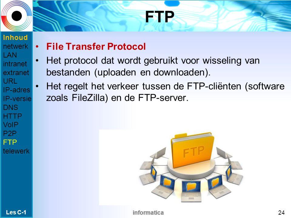 informatica FTP File Transfer Protocol Het protocol dat wordt gebruikt voor wisseling van bestanden (uploaden en downloaden).