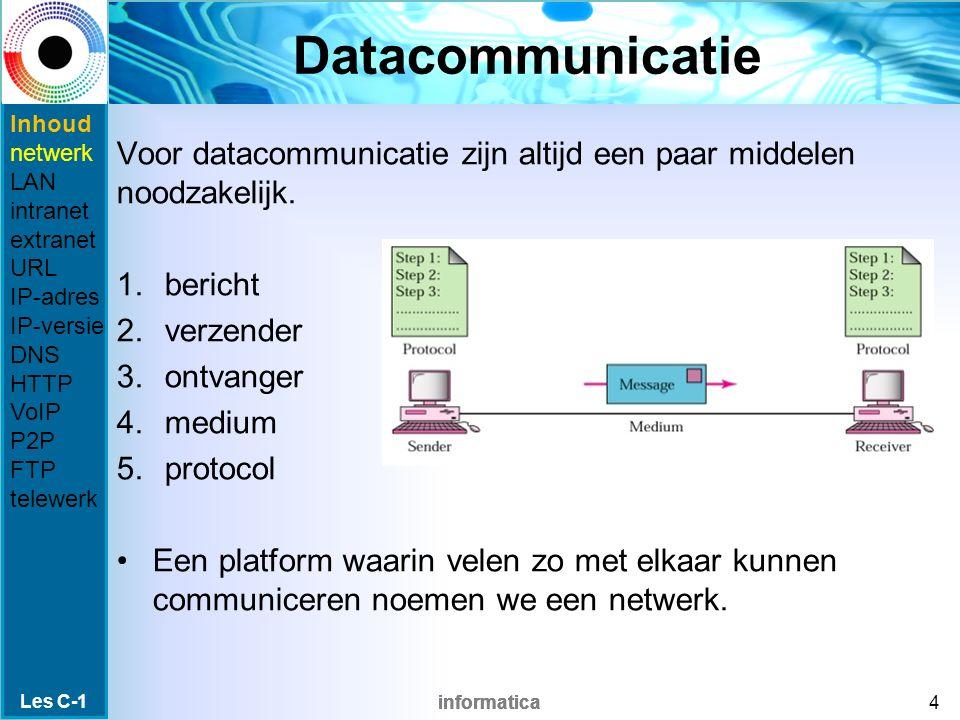 informatica Netwerken Er zijn verschillende soorten digitale netwerken: LAN (Local Area Network) WAN (Wide Area Network) WLAN (Wireless LAN) MAN (Metropolitan Area Network) internet intranet Les C-1 5 Inhoud netwerk LAN intranet extranet URL IP-adres IP-versie DNS HTTP VoIP P2P FTP telewerk