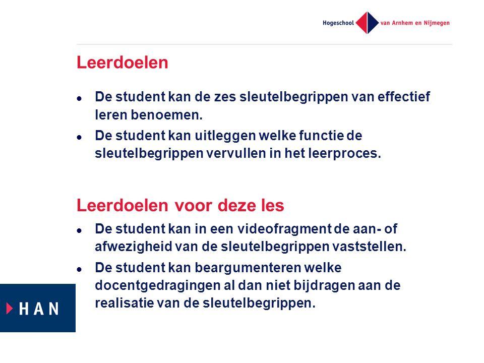 Leerdoelen De student kan de zes sleutelbegrippen van effectief leren benoemen. De student kan uitleggen welke functie de sleutelbegrippen vervullen i