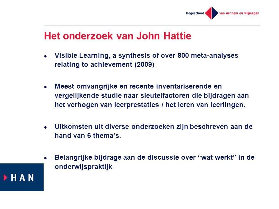 Het onderzoek van John Hattie Visible Learning, a synthesis of over 800 meta-analyses relating to achievement (2009) Meest omvangrijke en recente inve