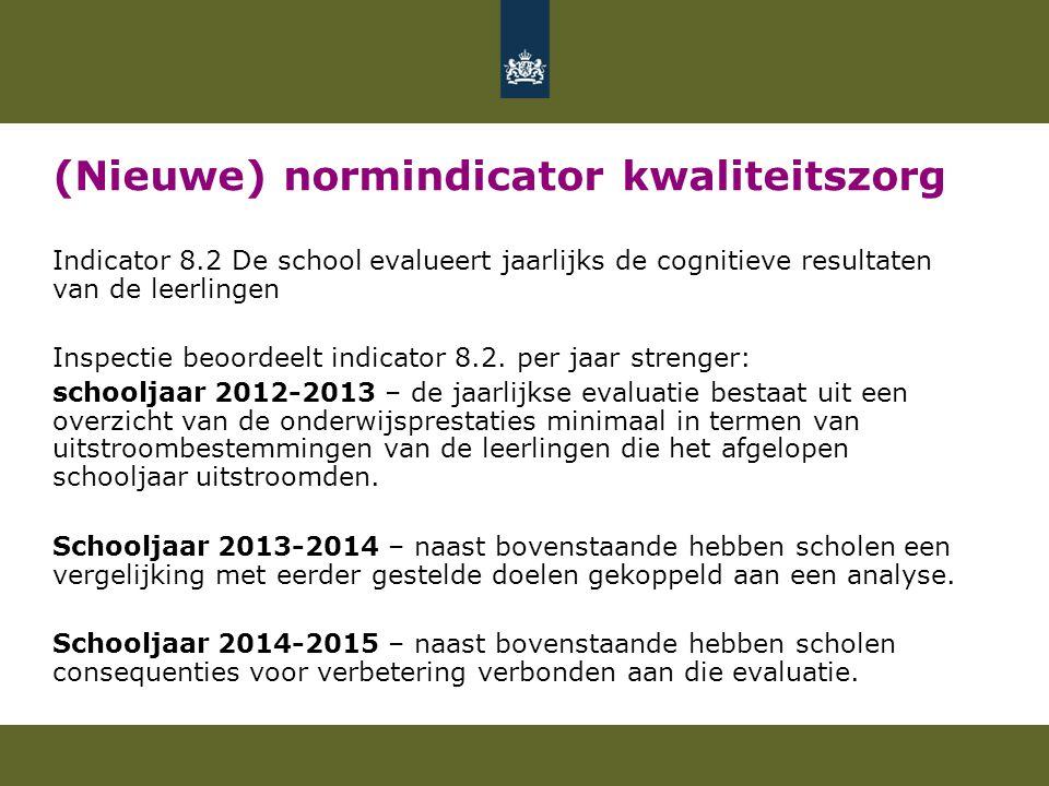 (Nieuwe) normindicator kwaliteitszorg Indicator 8.2 De school evalueert jaarlijks de cognitieve resultaten van de leerlingen Inspectie beoordeelt indicator 8.2.