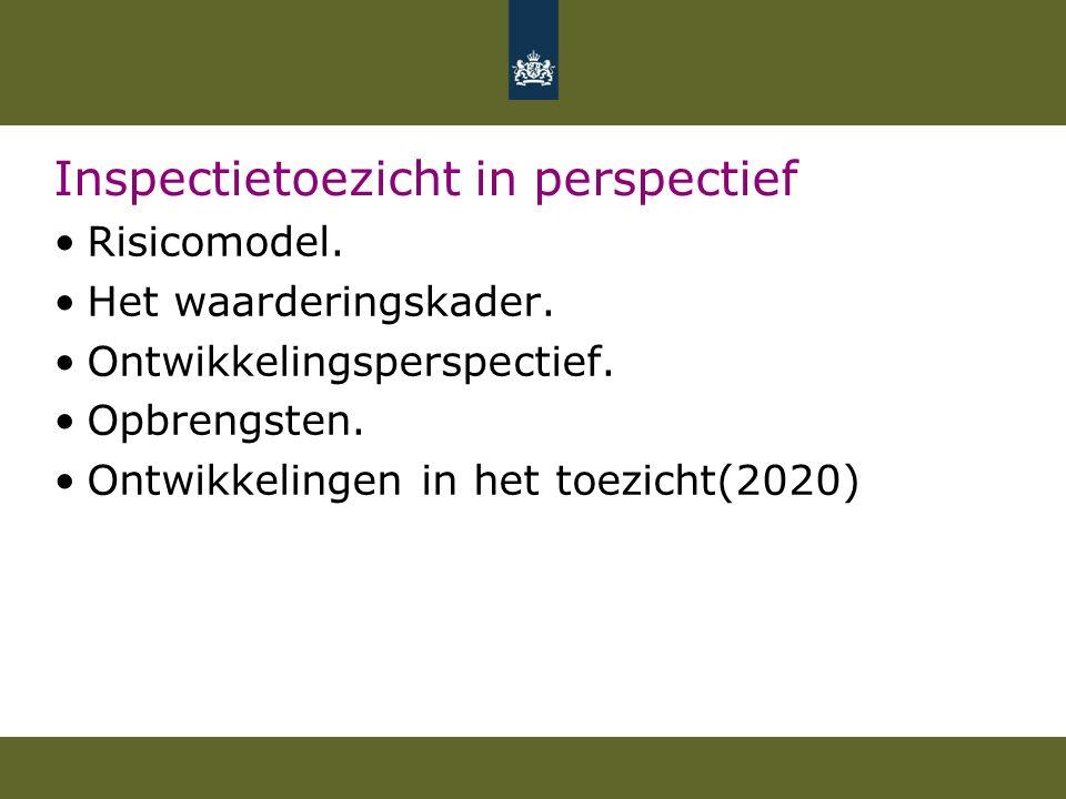 Inspectietoezicht in perspectief Risicomodel. Het waarderingskader.