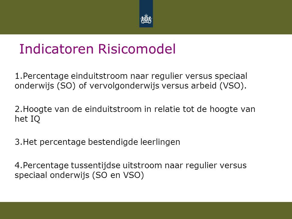 Indicatoren Risicomodel 1.Percentage einduitstroom naar regulier versus speciaal onderwijs (SO) of vervolgonderwijs versus arbeid (VSO).