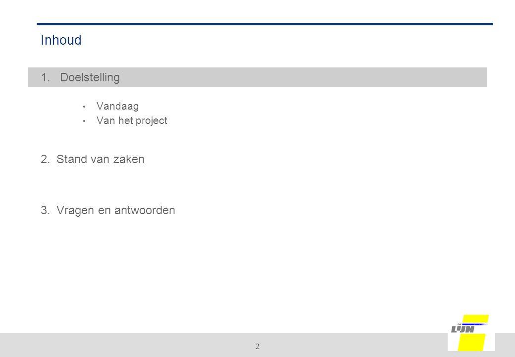 2 Inhoud 1. Doelstelling Vandaag Van het project 2.Stand van zaken 3.Vragen en antwoorden
