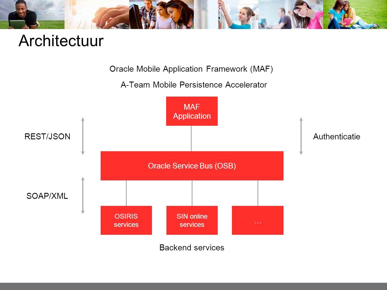 Architectuur MAF Application OSIRIS services SIN online services … Oracle Service Bus (OSB) Oracle Mobile Application Framework (MAF) Backend services