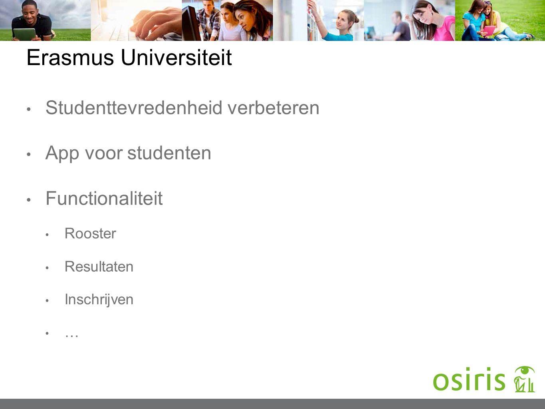 Erasmus Universiteit Studenttevredenheid verbeteren App voor studenten Functionaliteit Rooster Resultaten Inschrijven …