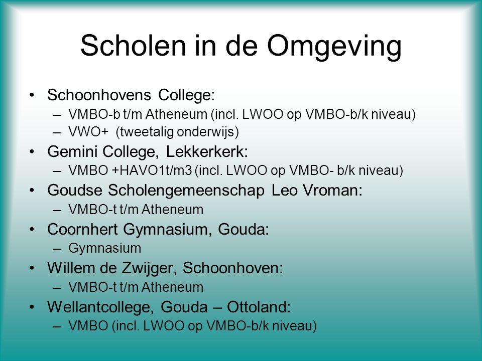 Scholen in de Omgeving Schoonhovens College: –VMBO-b t/m Atheneum (incl.