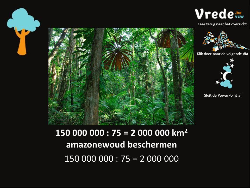 150 000 000 : 75 = 2 000 000 km 2 amazonewoud beschermen 150 000 000 : 75 = 2 000 000 Klik door naar de volgende dia Sluit de PowerPoint af Keer terug naar het overzicht