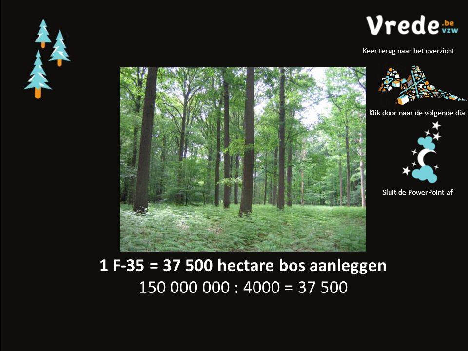 1 F-35 = 37 500 hectare bos aanleggen 150 000 000 : 4000 = 37 500 Klik door naar de volgende dia Sluit de PowerPoint af Keer terug naar het overzicht