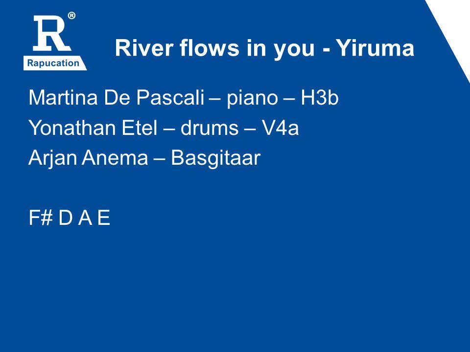 River flows in you - Yiruma Martina De Pascali – piano – H3b Yonathan Etel – drums – V4a Arjan Anema – Basgitaar F# D A E