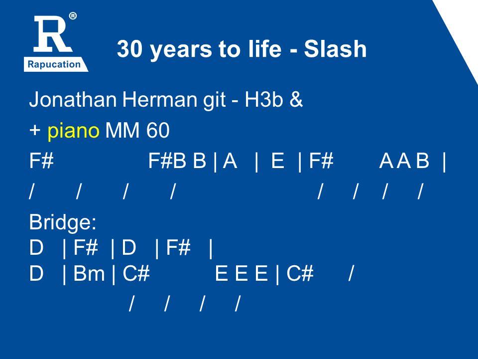 30 years to life - Slash Jonathan Herman git - H3b & + piano MM 60 F# F#B B | A | E | F# A A B | / / / / Bridge: D | F# | D | F# | D | Bm | C# E E E |