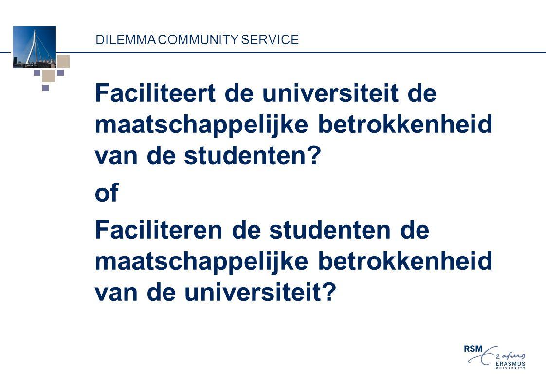 DILEMMA COMMUNITY SERVICE Faciliteert de universiteit de maatschappelijke betrokkenheid van de studenten? of Faciliteren de studenten de maatschappeli