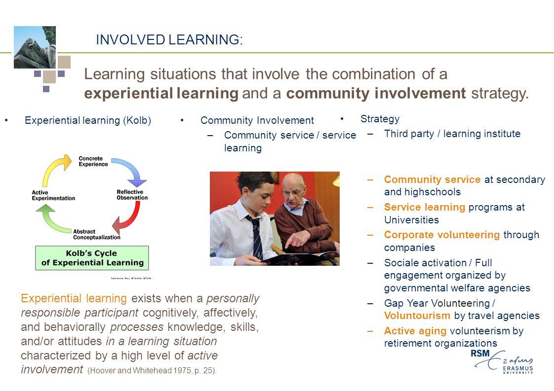 Involved learning (geplande) leerervaring Door anderen (school) aangestuurd Zelf gestuurd 'ervaring ' lerenMaatschappelijke stage / community service Algemeen vrijwilligerswerk 'reflectie' lerenService learningThe Duke of Edinburgh's International Award