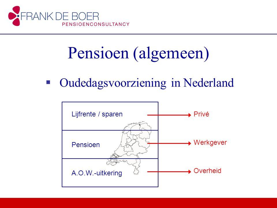 Pensioen (algemeen)  Oudedagsvoorziening in Nederland Lijfrente / sparen Pensioen A.O.W.-uitkering Privé Werkgever Overheid
