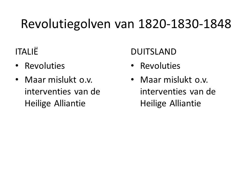 Revolutiegolven van 1820-1830-1848 ITALIË Revoluties Maar mislukt o.v. interventies van de Heilige Alliantie DUITSLAND Revoluties Maar mislukt o.v. in
