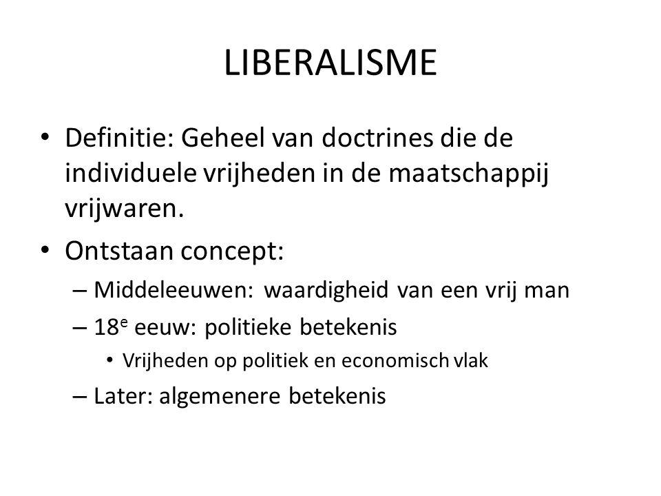 LIBERALISME Definitie: Geheel van doctrines die de individuele vrijheden in de maatschappij vrijwaren. Ontstaan concept: – Middeleeuwen: waardigheid v