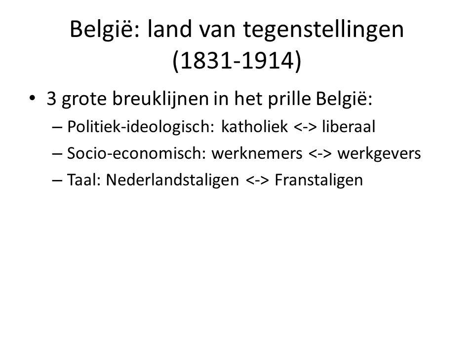 België: land van tegenstellingen (1831-1914) 3 grote breuklijnen in het prille België: – Politiek-ideologisch: katholiek liberaal – Socio-economisch: