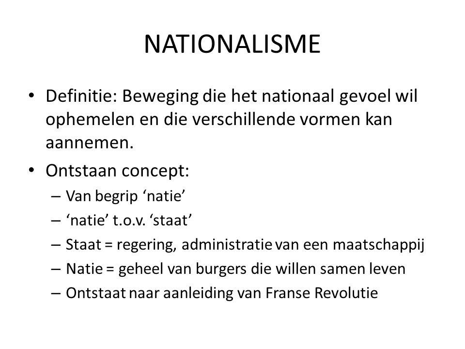 NATIONALISME Definitie: Beweging die het nationaal gevoel wil ophemelen en die verschillende vormen kan aannemen. Ontstaan concept: – Van begrip 'nati
