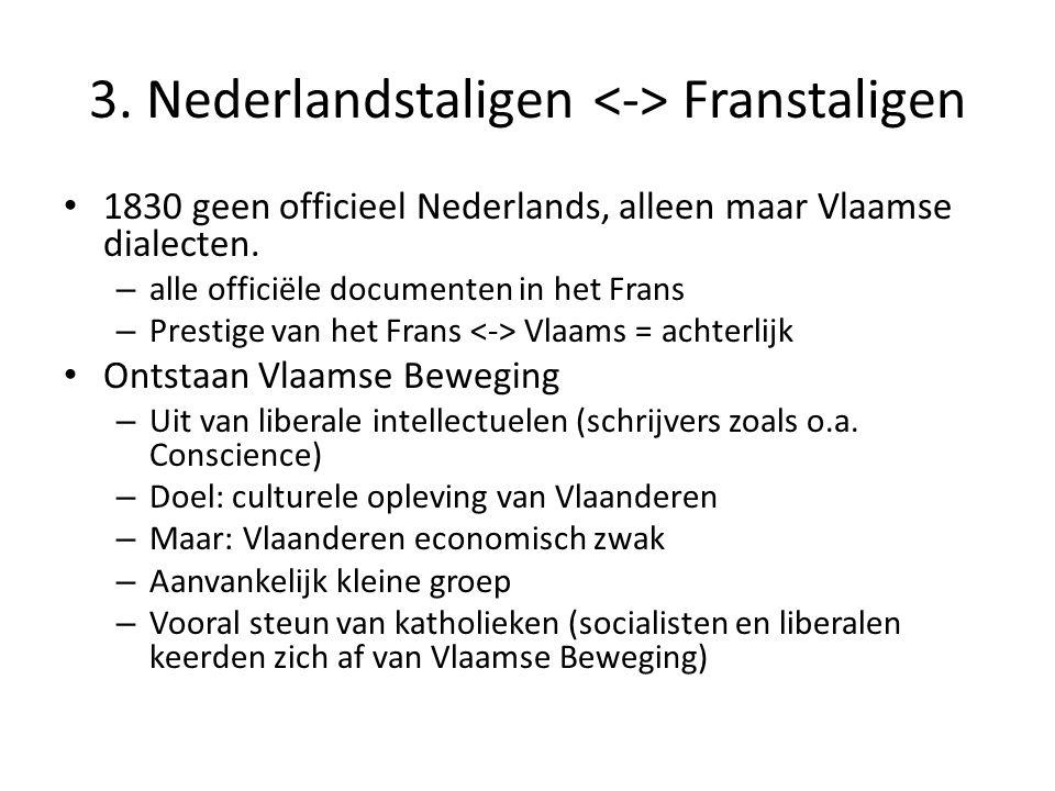 3. Nederlandstaligen Franstaligen 1830 geen officieel Nederlands, alleen maar Vlaamse dialecten. – alle officiële documenten in het Frans – Prestige v