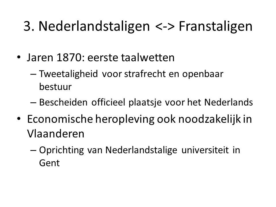 3. Nederlandstaligen Franstaligen Jaren 1870: eerste taalwetten – Tweetaligheid voor strafrecht en openbaar bestuur – Bescheiden officieel plaatsje vo
