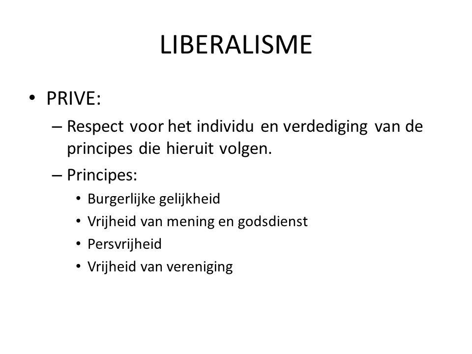 LIBERALISME PRIVE: – Respect voor het individu en verdediging van de principes die hieruit volgen. – Principes: Burgerlijke gelijkheid Vrijheid van me