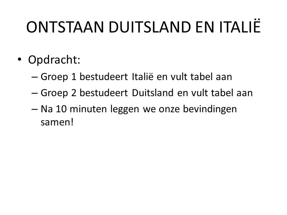 ONTSTAAN DUITSLAND EN ITALIË Opdracht: – Groep 1 bestudeert Italië en vult tabel aan – Groep 2 bestudeert Duitsland en vult tabel aan – Na 10 minuten