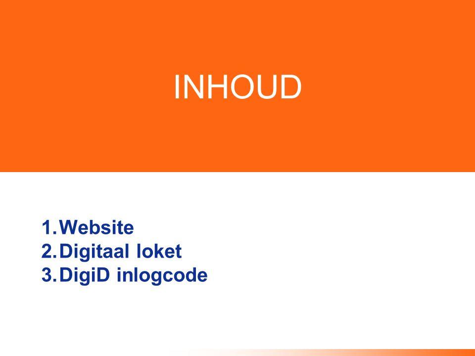 INHOUD 1.Website 2.Digitaal loket 3.DigiD inlogcode