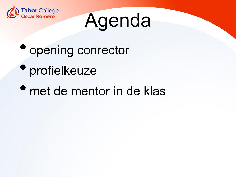 Agenda opening conrector profielkeuze met de mentor in de klas