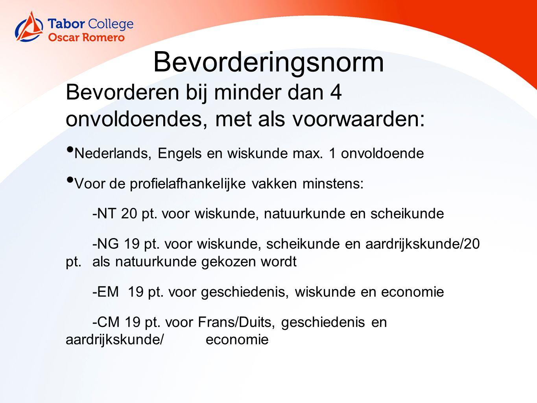 Bevorderingsnorm Bevorderen bij minder dan 4 onvoldoendes, met als voorwaarden: Nederlands, Engels en wiskunde max.
