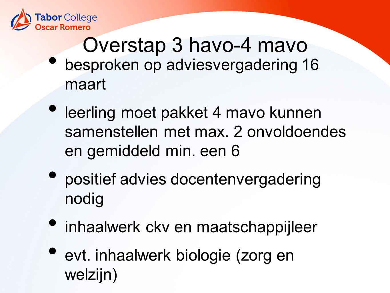 Overstap 3 havo-4 mavo besproken op adviesvergadering 16 maart leerling moet pakket 4 mavo kunnen samenstellen met max.