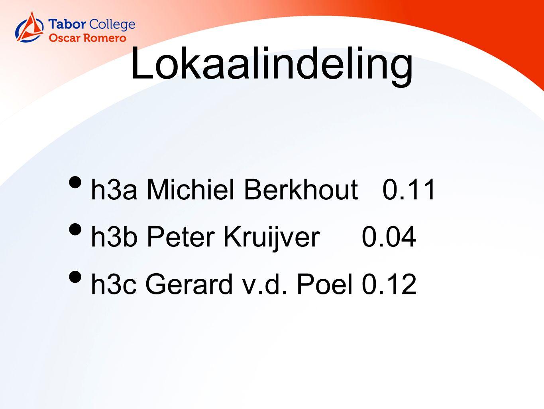 Lokaalindeling h3a Michiel Berkhout 0.11 h3b Peter Kruijver0.04 h3c Gerard v.d. Poel0.12