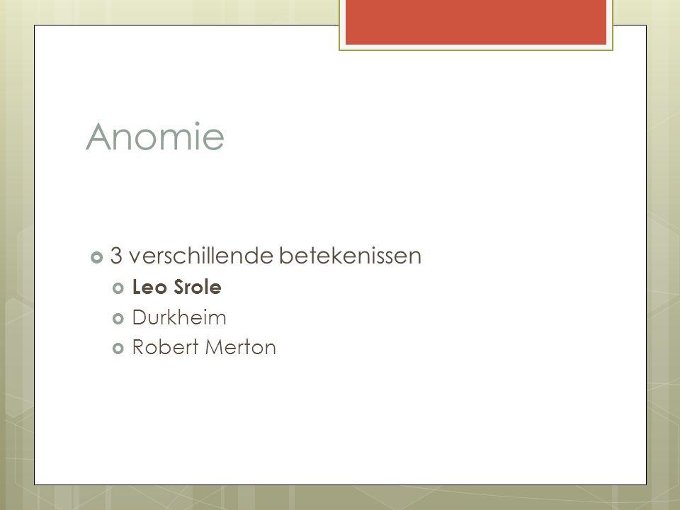 Anomie  3 verschillende betekenissen  Leo Srole  Durkheim  Robert Merton