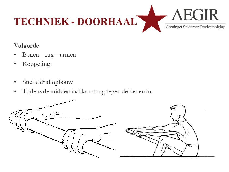 TECHNIEK - DOORHAAL Volgorde Benen – rug – armen Koppeling Snelle drukopbouw Tijdens de middenhaal komt rug tegen de benen in Als laatste worden de armen bijgehaald
