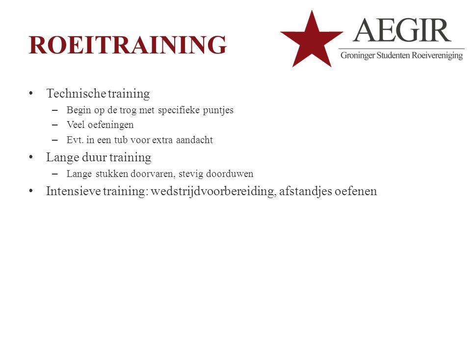 ROEITRAINING Technische training – Begin op de trog met specifieke puntjes – Veel oefeningen – Evt.