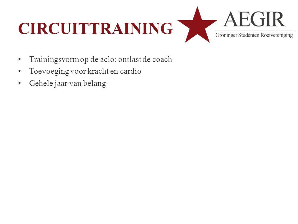 CIRCUITTRAINING Trainingsvorm op de aclo: ontlast de coach Toevoeging voor kracht en cardio Gehele jaar van belang