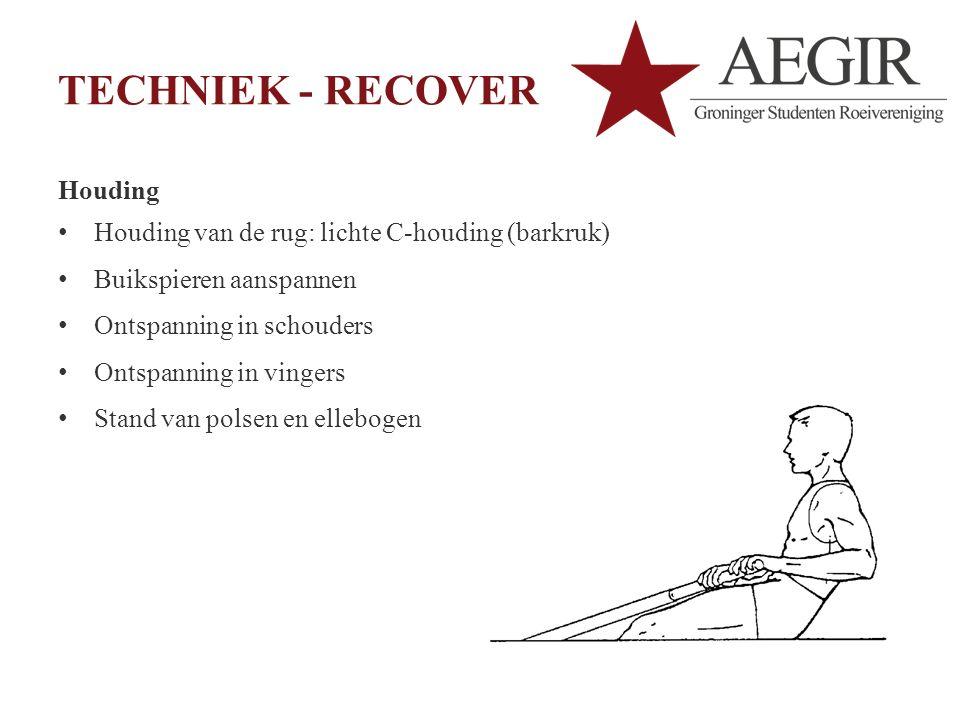 TECHNIEK - RECOVER Houding Houding van de rug: lichte C-houding (barkruk) Buikspieren aanspannen Ontspanning in schouders Ontspanning in vingers Stand van polsen en ellebogen