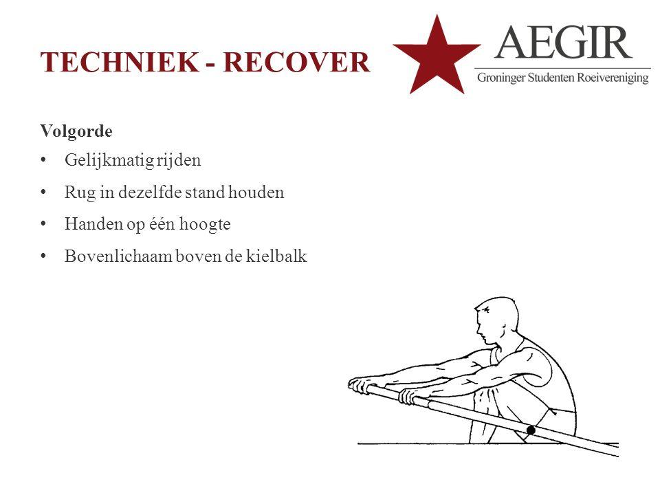 TECHNIEK - RECOVER Volgorde Gelijkmatig rijden Rug in dezelfde stand houden Handen op één hoogte Bovenlichaam boven de kielbalk