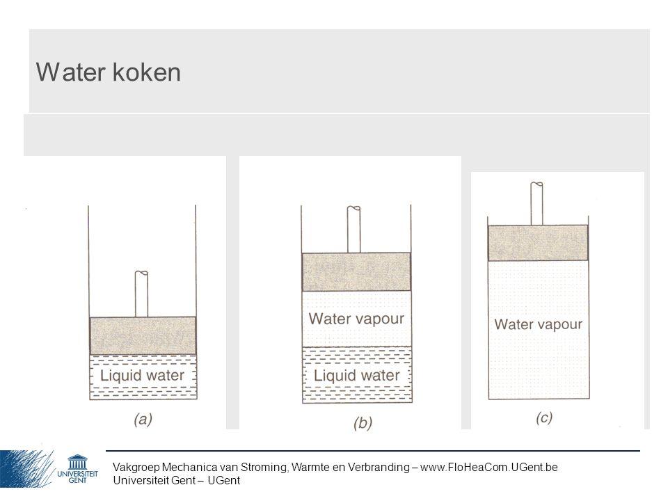 Vakgroep Mechanica van Stroming, Warmte en Verbranding – www.FloHeaCom.UGent.be Universiteit Gent – UGent Water koken