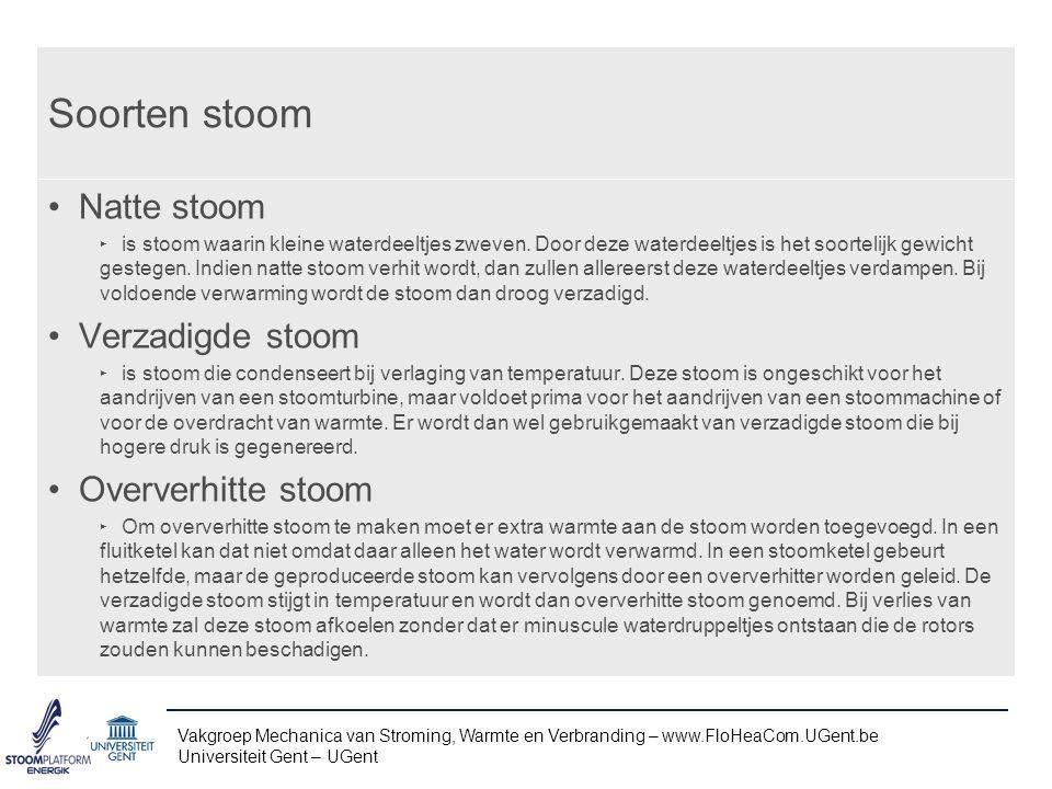 Vakgroep Mechanica van Stroming, Warmte en Verbranding – www.FloHeaCom.UGent.be Universiteit Gent – UGent hp-diagram van stoom