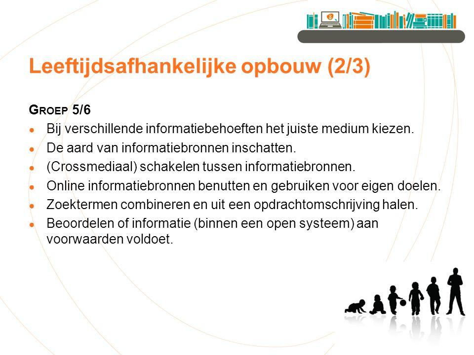 Leeftijdsafhankelijke opbouw (2/3) G ROEP 5/6 ● Bij verschillende informatiebehoeften het juiste medium kiezen.