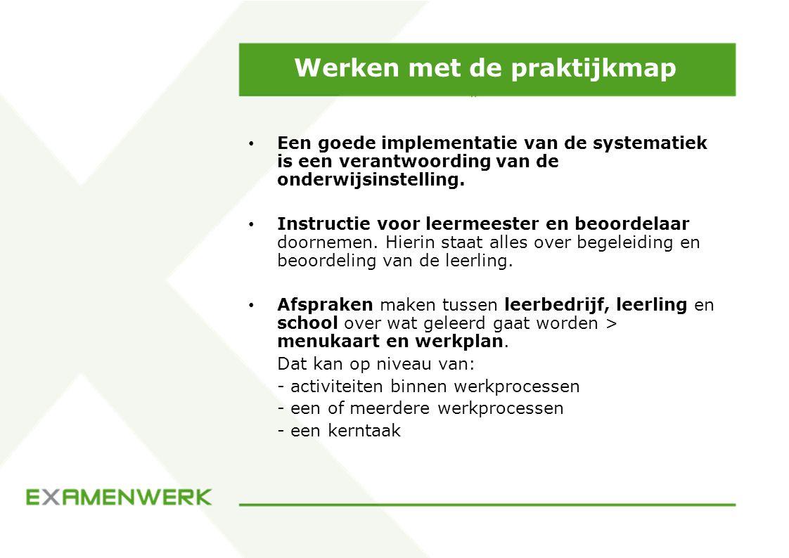 Werken met de praktijkmap Een goede implementatie van de systematiek is een verantwoording van de onderwijsinstelling. Instructie voor leermeester en