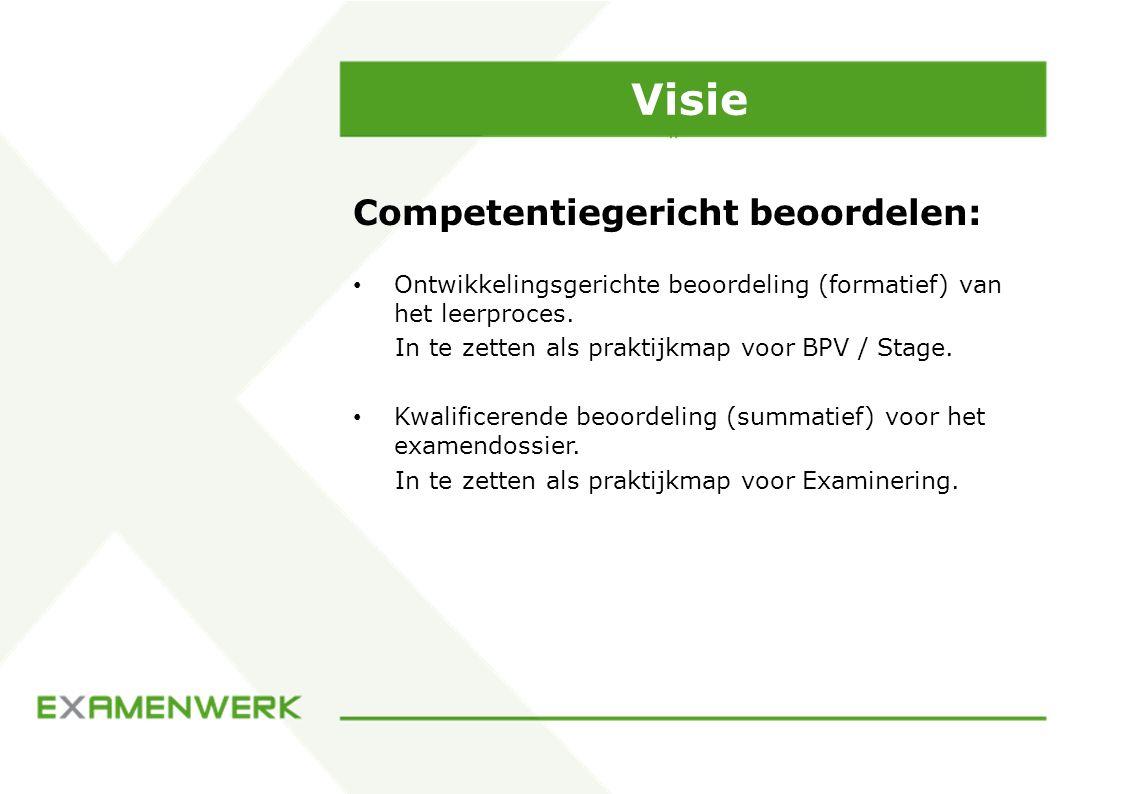 Visie Competentiegericht beoordelen: Ontwikkelingsgerichte beoordeling (formatief) van het leerproces. In te zetten als praktijkmap voor BPV / Stage.