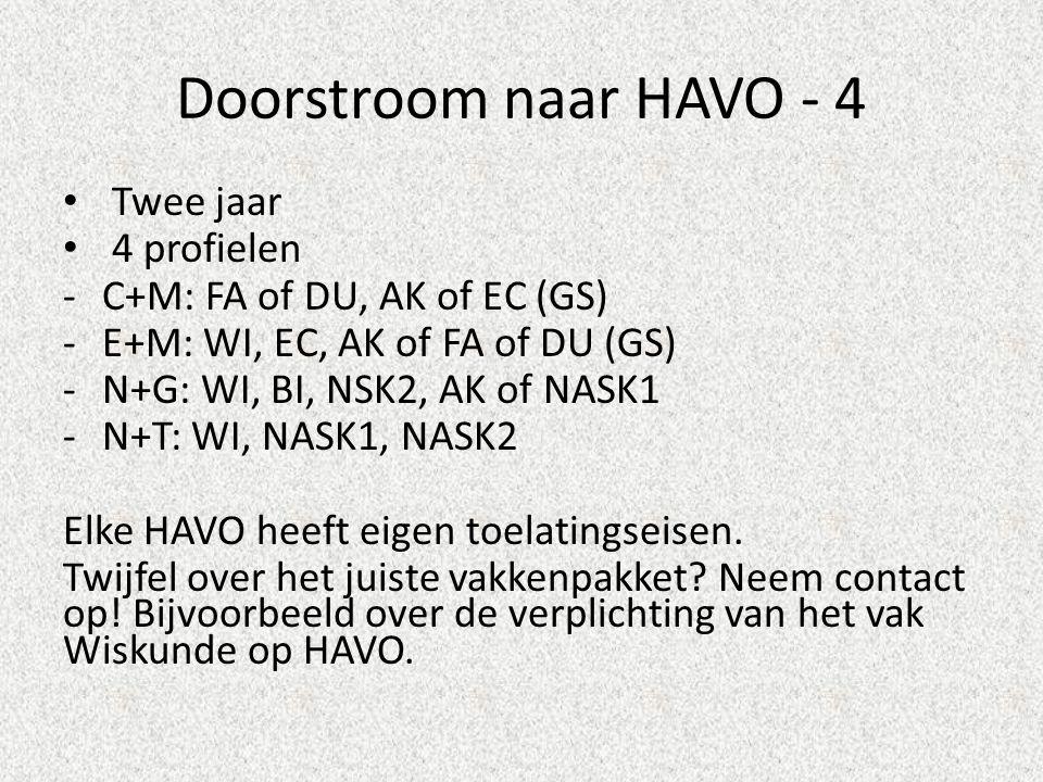 Doorstroom naar HAVO - 4 Twee jaar 4 profielen -C+M: FA of DU, AK of EC (GS) -E+M: WI, EC, AK of FA of DU (GS) -N+G: WI, BI, NSK2, AK of NASK1 -N+T: WI, NASK1, NASK2 Elke HAVO heeft eigen toelatingseisen.