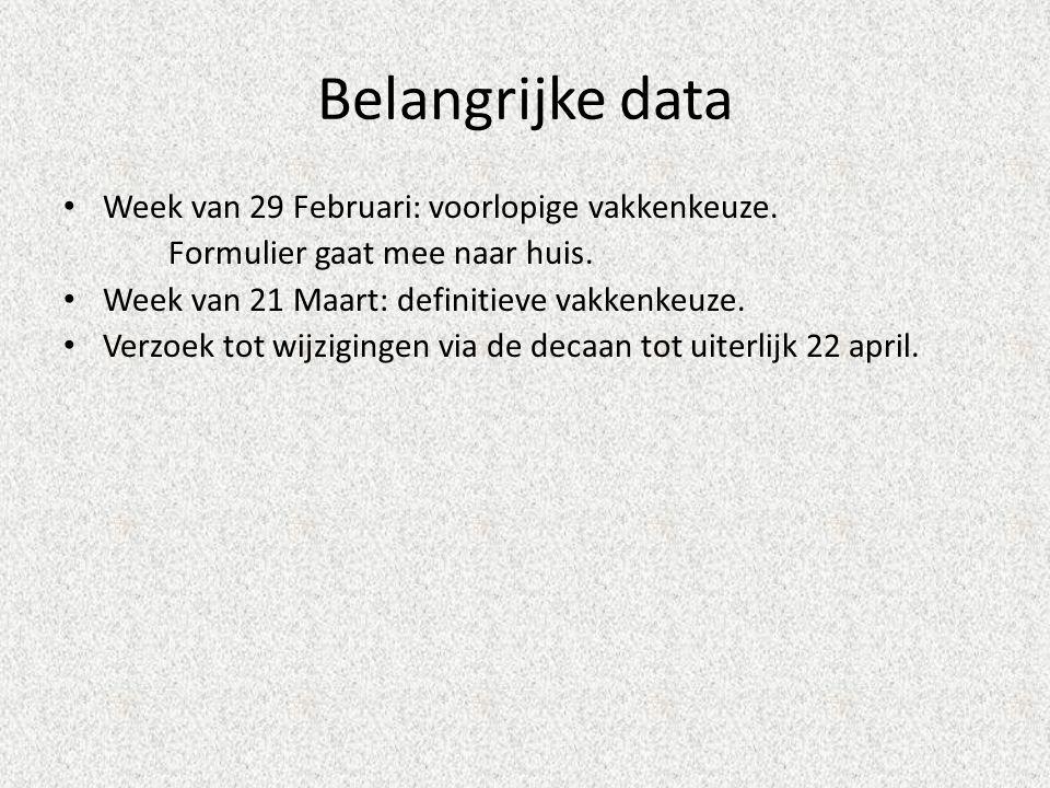 Belangrijke data Week van 29 Februari: voorlopige vakkenkeuze.