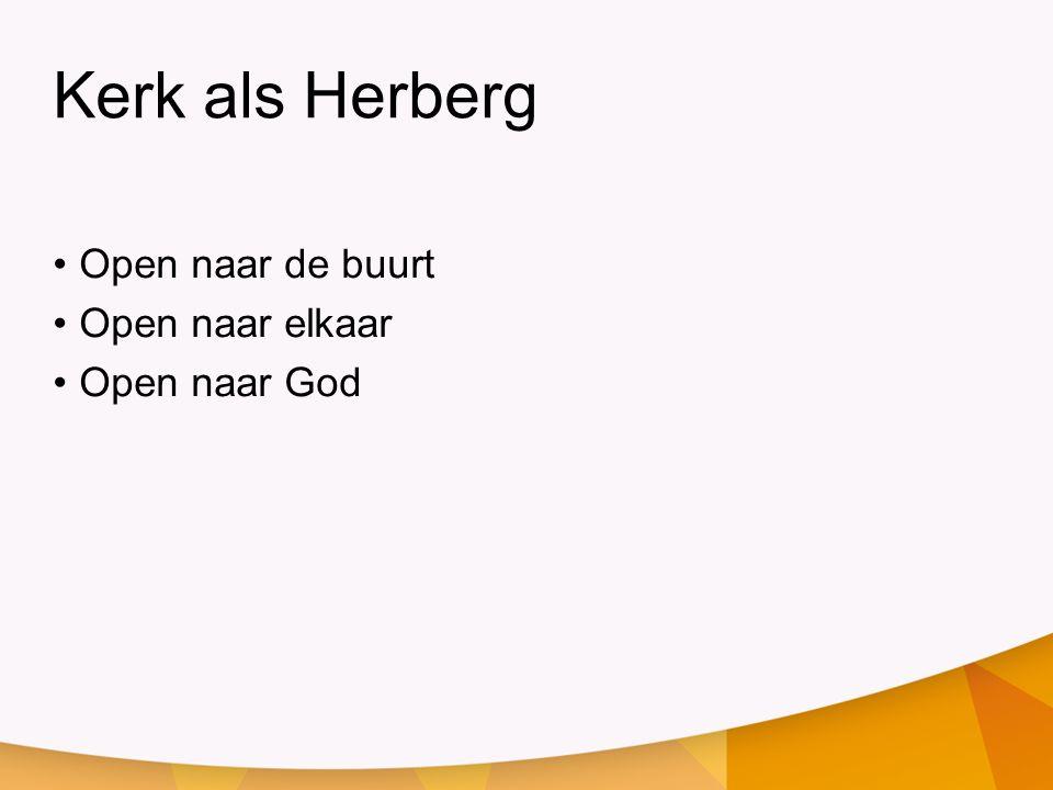 Kerk als Herberg Open naar de buurt Open naar elkaar Open naar God