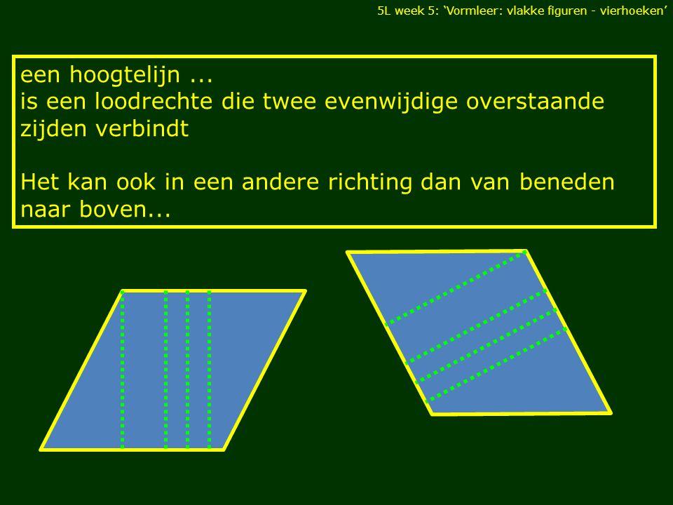 5L week 5: 'Vormleer: vlakke figuren - vierhoeken' een hoogtelijn... is een loodrechte die twee evenwijdige overstaande zijden verbindt Het kan ook in