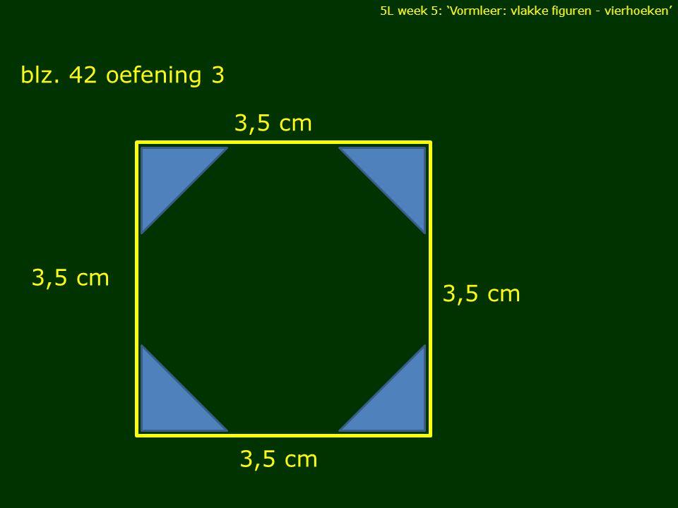 5L week 5: 'Vormleer: vlakke figuren - vierhoeken' blz. 42 oefening 3 DIAGONALEN 3,5 cm