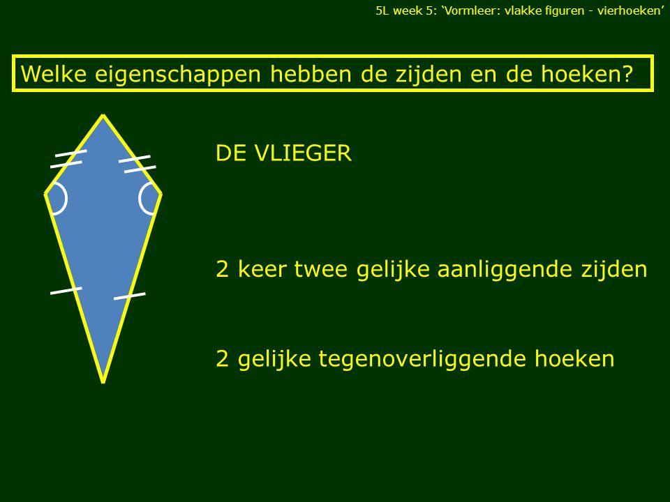 DE VLIEGER 5L week 5: 'Vormleer: vlakke figuren - vierhoeken' Welke eigenschappen hebben de zijden en de hoeken? 2 keer twee gelijke aanliggende zijde
