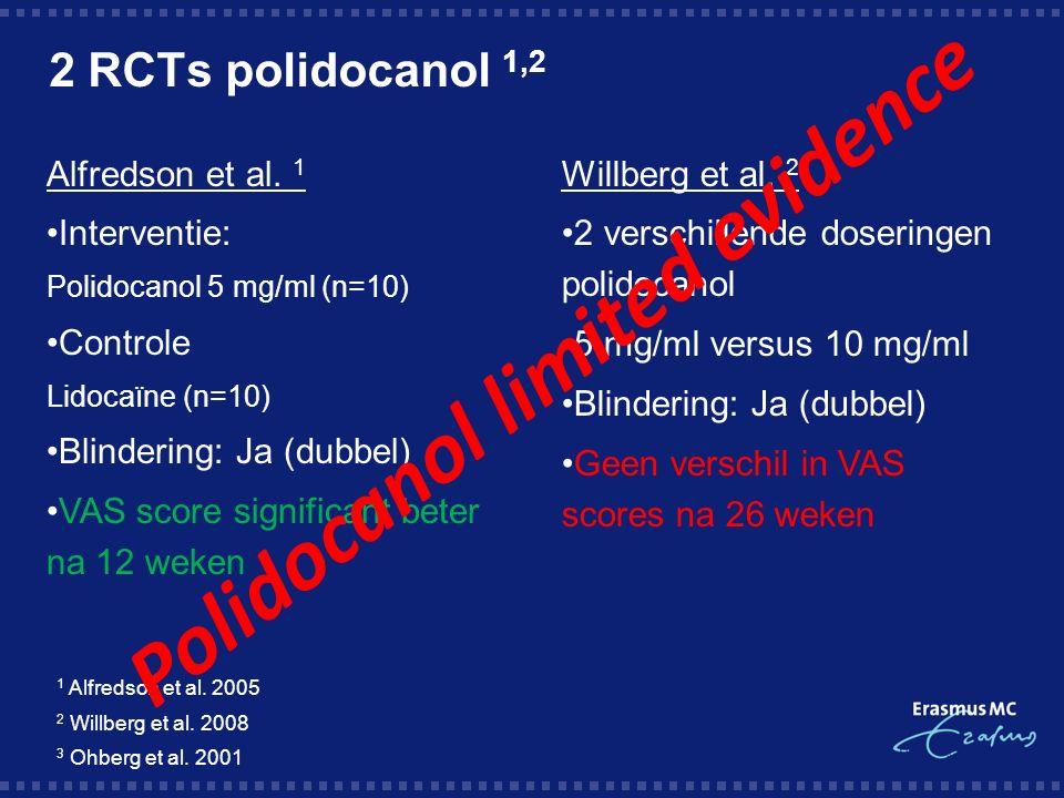 2 RCTs polidocanol 1,2 1 Alfredson et al. 2005 2 Willberg et al.